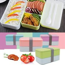 900ML 2 Layer Lunch Box Picnic Bento Food Container + Spoon Chopstic Food Safe