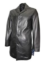 Men's Classic Trench Coat Brown Italian Tailored Fit Real Glazed Leather Jacket