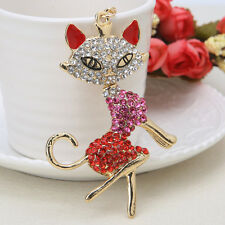 Cat Crystal Rhinestone Keyring Charm Pendant Purse Bag Key Ring Chain Keychain