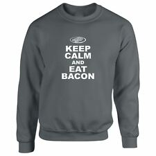Hoodie Keep Calm and Eat Bacon Mens Sweatshirt Funny Parody Meat Tee Food Hog