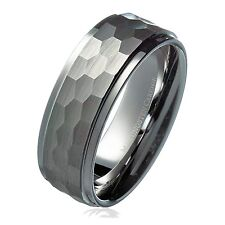 8mm Hammered Stepped Edges Tungsten Carbide Men's Band Wedding Ring