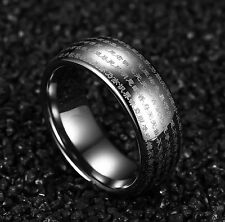 Genuine Tungsten Carbide Chinese Heart Sutra Engraved Domed Wedding Rings Band