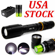 Tactical 12000Lumens 5-Mode T6 LED Zoomable Flashlight&2*18650&Charger USA