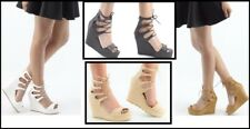 Womens Front Lace Up Ankle Sandals Ladies Strappy Pattern Wedges Platform Heels