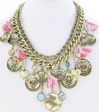 Betsey Johnson  Critter Cameo Dog Cat Medallion Chain Statement Necklace NWT