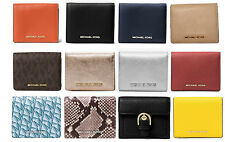 MICHAEL KORS Jet Set Card Holder Wallet Mercer Embossed Leather Coin gold NWT
