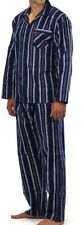 Pyjamas Mens Flannel Cotton 2pc Pjs Set (sz S-XXL) Navy Stripes Sz S M L XL XXL