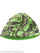 New GAP Kids Boy's Hat Size S/M SKULL Print Fleece Beanie Green