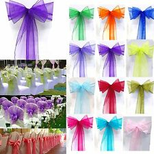 Elegant Wedding Party Reception Banquet Decor Organza Chair Cover Sash Bow