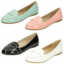 Ladies Spot On Patent Flat Casual Shoes
