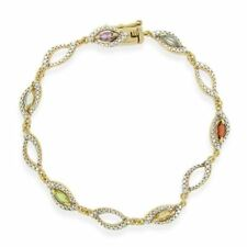 18K Gold over Sterling Silver Multi Gemstone & Diamond Accent Marquise Link Brac