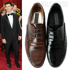 MENS 'Motion' Leather Lace-Up Dress Shoes Moc-Toe Formal Oxfords