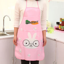 Cool!! Women Cute Cartoon Waterproof Apron Kitchen Restaurant Cooking Bib Aprons