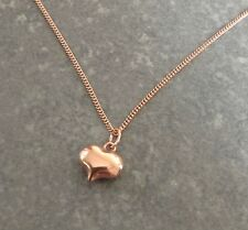 "Rose Gold Plated 925 Sterling Silver Puffed Heart Pendant 18"" Chain Necklace"