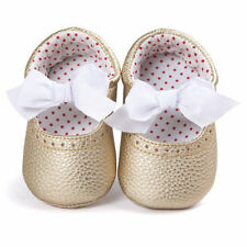 NEW Baby Girl Gold White Bow Leather Mary Jane Crib Shoes 0-6 6-12 12-18 Months