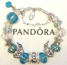 NEW Authentic PANDORA Sterling Silver BRACELET with European Charm Beads #17