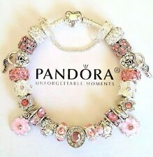 NEW Authentic PANDORA HEART CLASP Silver BRACELET with European CHARM Beads #34