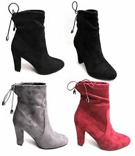 Womens Ladies Ankle Boot Shoes Block Mid Heels Lace Tie Up Suede Cute Sexy Boots