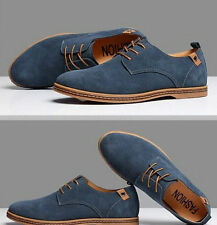 Men Suede Leather Shoes Men's Dress Formal Oxfords Lace Up Casual Flats Loafers