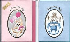 Hand Embroidered Christening Cards By Ekard ~ Boy or Girl ~ New