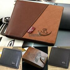 LM New Mens Leather Bifold ID Cards Holder Coin Pocket Bag Slim Purse Wallet