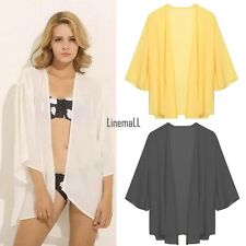 New Women 3/4 Sleeve Front Open Blouse Asymmetric Hem Solid Loose Casual LM01