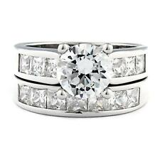 Sterling Silver 5.4 carat Ice on Fire CZ 2 Piece Wedding Ring Set, Tallia 80