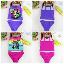 2PCS Girls Kids Summer Beach Bathing Bikini Set Tiger / Zebra Swimsuit Swimwear