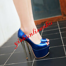 Sexy Womens Patent Leather Platform Open Toe Dating Party Shoes High Heels Pumps