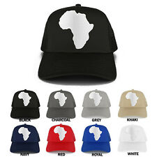 Solid White African Map Embroidered Iron on Patch Adjustable Trucker Mesh Cap