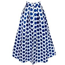 Women Polka Dot Party Vintage Casual Formal High Waist Pleated Skirt Long Maxi