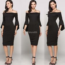 3/4 Asymmetrical Bell Sleeve Off The Shoulder Solid Bodycon Going Out E456
