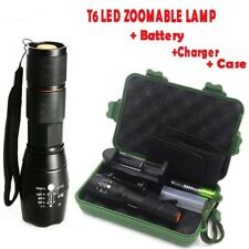 Tactical 10000LM Zoom XML T6 LED Flashlight Torch+18650 Battery Charger Case