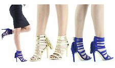 Ladies Strappy Ankle Frill Stiletto Heels Womens PU Suede Open Toe Sandal Shoes