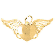 14K Gold Heart With Wings Pendant (Yellow, White or Rose) - AZ3897-14K