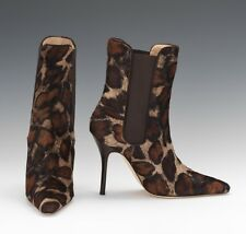 NEW Manolo Blahnik Toialo Pony Hair Ankle Boots Animal Print Brown Beige Shoes