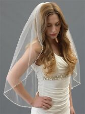 Bridal Veil Ivory Pearls Beads One Layer Elbow Or Fingertip Length Wedding