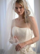 Pearl Crystal Beaded Cathedral Wedding Bridal Veil one single layer