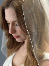 Wedding Bridal Veil Delicate Beads One Layer Elbow Or Fingertip Length