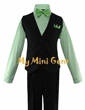 Boys 4PC Solid Black Vest Suit Set with Green Stripe Dress Shirt and Bow Tie