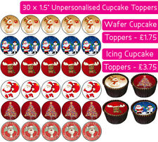 30 CHRISTMAS EDIBLE WAFER & ICING CUPCAKES TOPPERS PARTY MERRY SANTA SNOWMAN