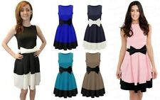 NEW WOMENS LADIES SLEEVELESS CONTRAST PANEL BOW DETAIL FLARED PARTY SKATER DRESS