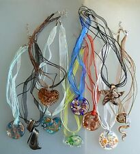 Fused Glass Pendant With Organza Ribbon + Cord Necklace