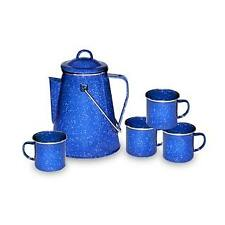 Stansport Enamel Percolator Coffee Pot and Set of 4 Mugs New