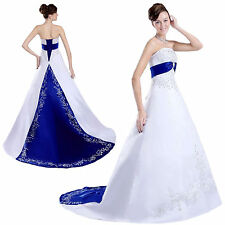 Satin Embroidery Elegant Gown Wedding Dress Bridal Dresses Evening Gown Custom