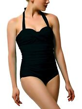One Piece Swimsuits for Women Ruched Push Up Bathing Suits Vintage Black