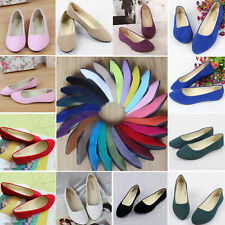 Women Faux Suede Flats Loafers Slip On Ballerina Ballet Ladies Dolly Pumps Shoes