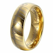 8mm Gold Lord of Rings Men Women Tungsten Ring Wedding Band High Polished Promis