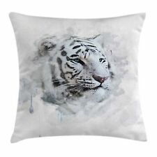 Animal Throw Pillow Case White Tiger Portrait Square Cushion Cover 24 Inches