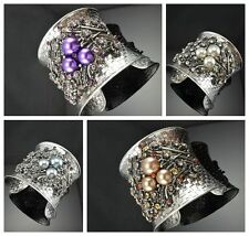 Gorgeous Antique Silver Tone Metal Flower Shape  Pearl Crystal Cuff Bracelets